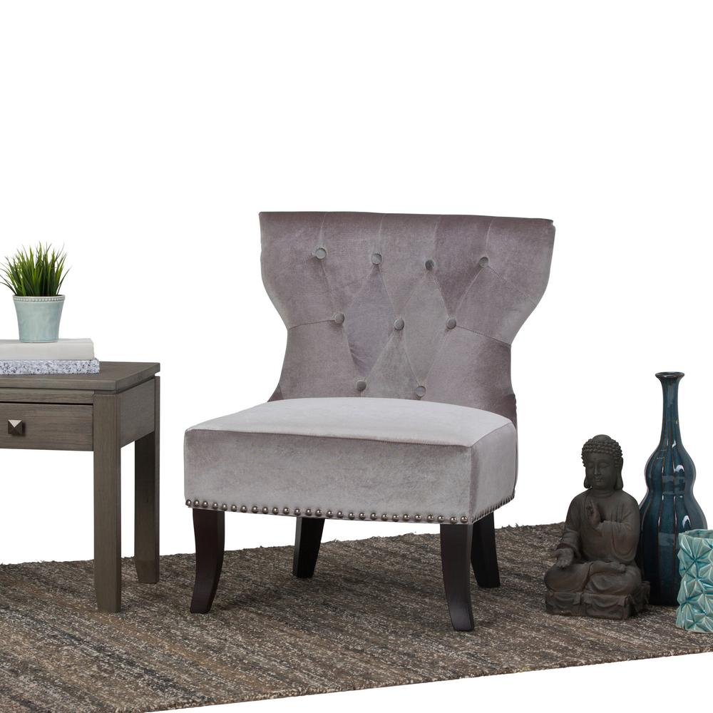 Simpli Home Kitchener Grey Velour Tufted Accent Chair