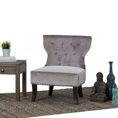 Kitchener Grey Velour Tufted Accent Chair