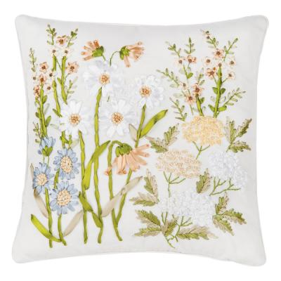 16 in. x 16 in. Wildflower Hand Crafted Ribbon Art Pillow