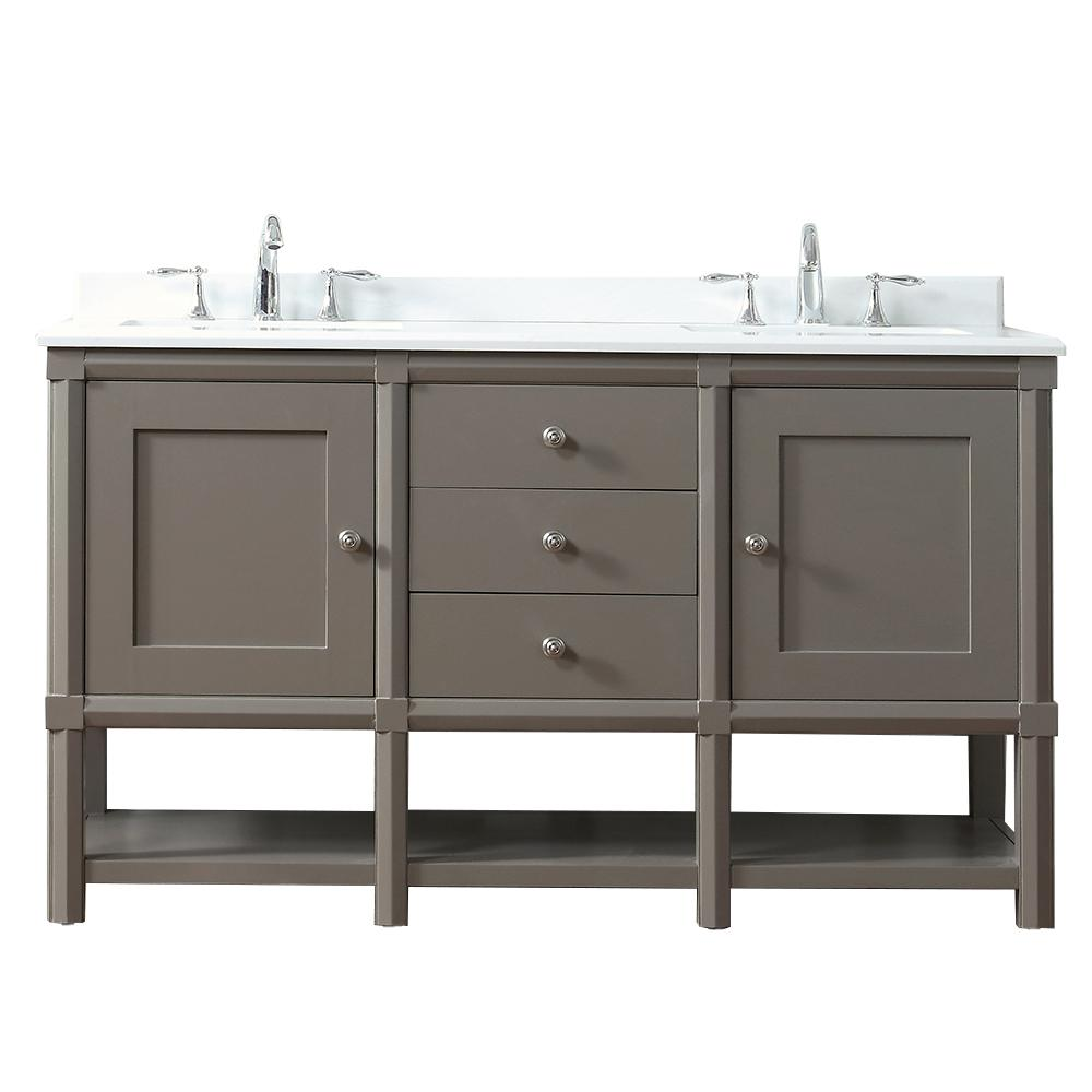 Martha Stewart Living Sutton 60 in. W x 22 in D Vanity in Brook Trout with Marble Vanity Top in Yves White with White Basin