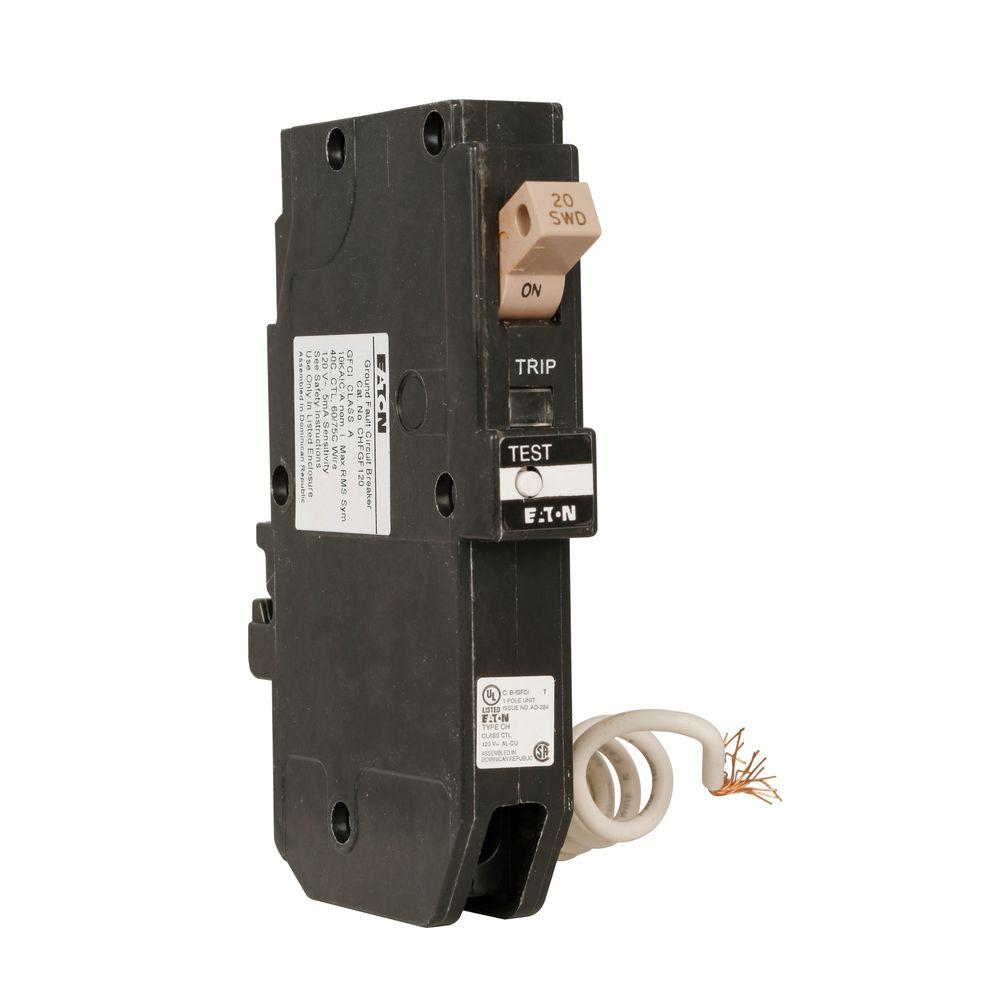 Eaton Gfci Circuit Breakers Power Distribution The Home Depot Testing House Wiring Circuits Ch 20 Amp 1 Pole Self Test Ground Fault Breaker With Trip Flag