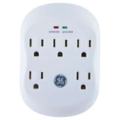 5-Outlet Surge Protector Tap in White