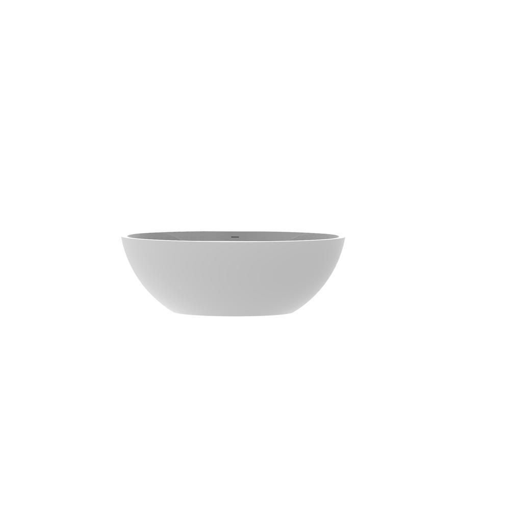 Badeloft USA Badeloft 59 in. Stone Resin Flatbottom Non-Whirlpool Bathtub in Glossy White