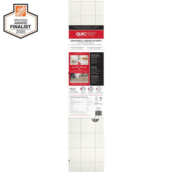 100 sq. ft. 3.9 ft. x 25.7 ft. x 0.059 in. Universal Underlayment for QuicTile, Vinyl Plank, Laminate, Eng Hardwood