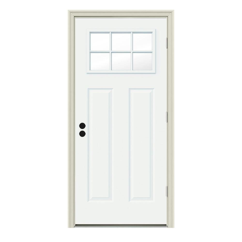 JELD-WEN 34 in. x 80 in. 6 Lite Craftsman White Painted Steel Prehung Left-Hand Outswing Front Door w/Brickmould