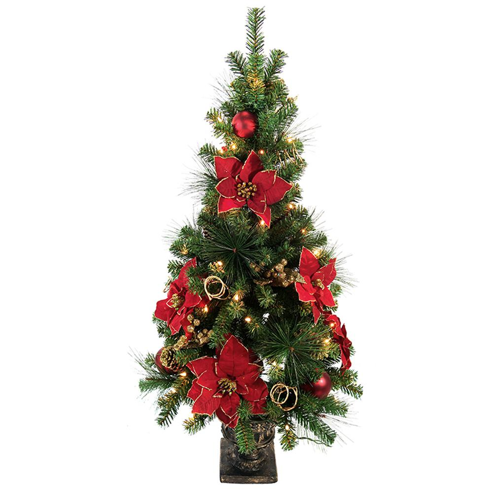 poinsettia potted artificial christmas tree with 50 clear lights - Poinsettia Christmas Tree Decorations