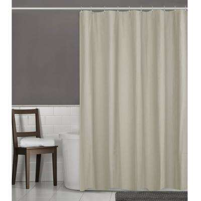 70 in. W x 72 in. L Herringbone Ultimate Waterproof Fabric Shower Curtain or Liner, Linen