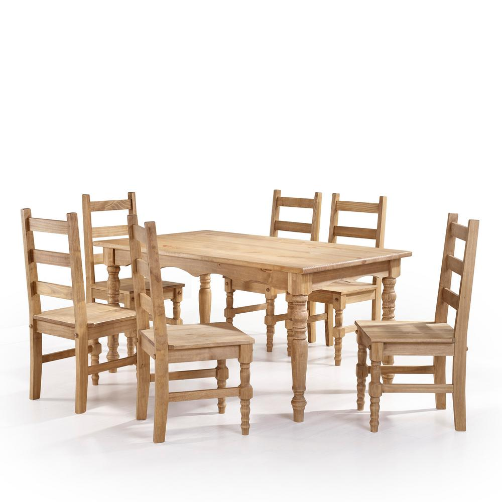 Manhattan Comfort Jay 7 Piece Nature Solid Wood Dining Set With 6 Chairs And