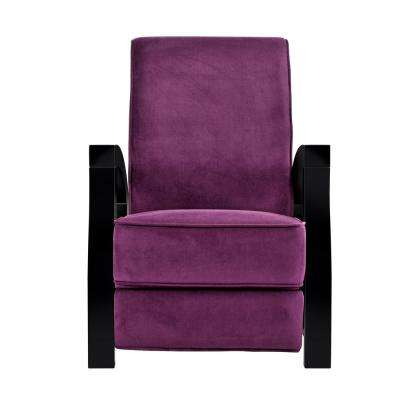 KUTA Solid Wood Java Black and Premium Purple Microvelvet Recliner