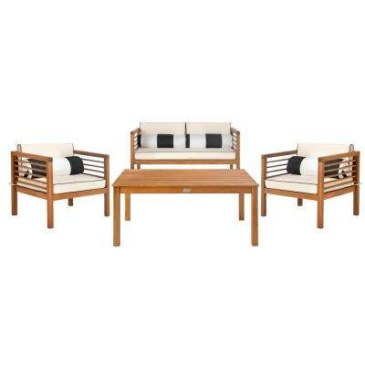 Alda Natural 4-Piece Wood Patio Conversation Set with White/Black Cushions