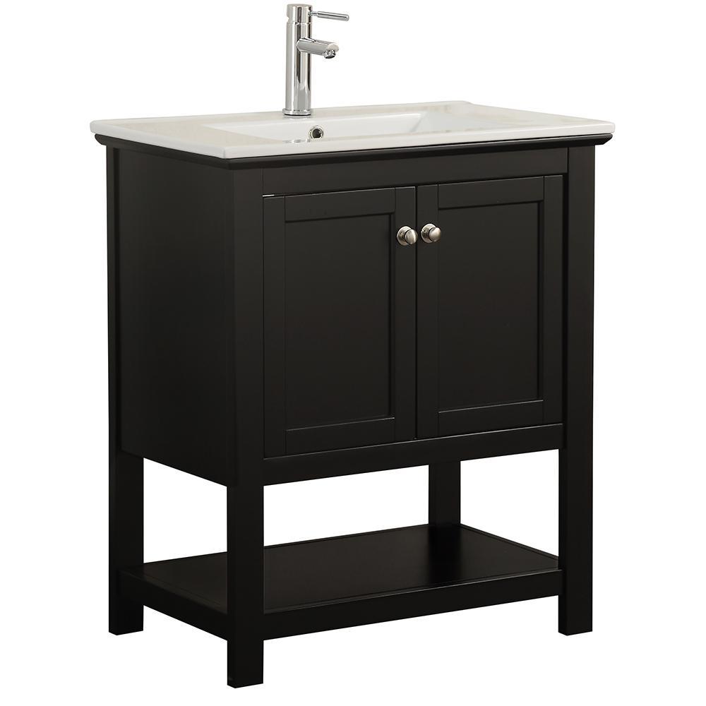 Bradford 30 in. W Traditional Bathroom Vanity in Black with Ceramic Vanity Top in White with White Basin
