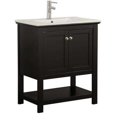 Bradford 30 In W Traditional Bathroom Vanity Black With Ceramic Top White