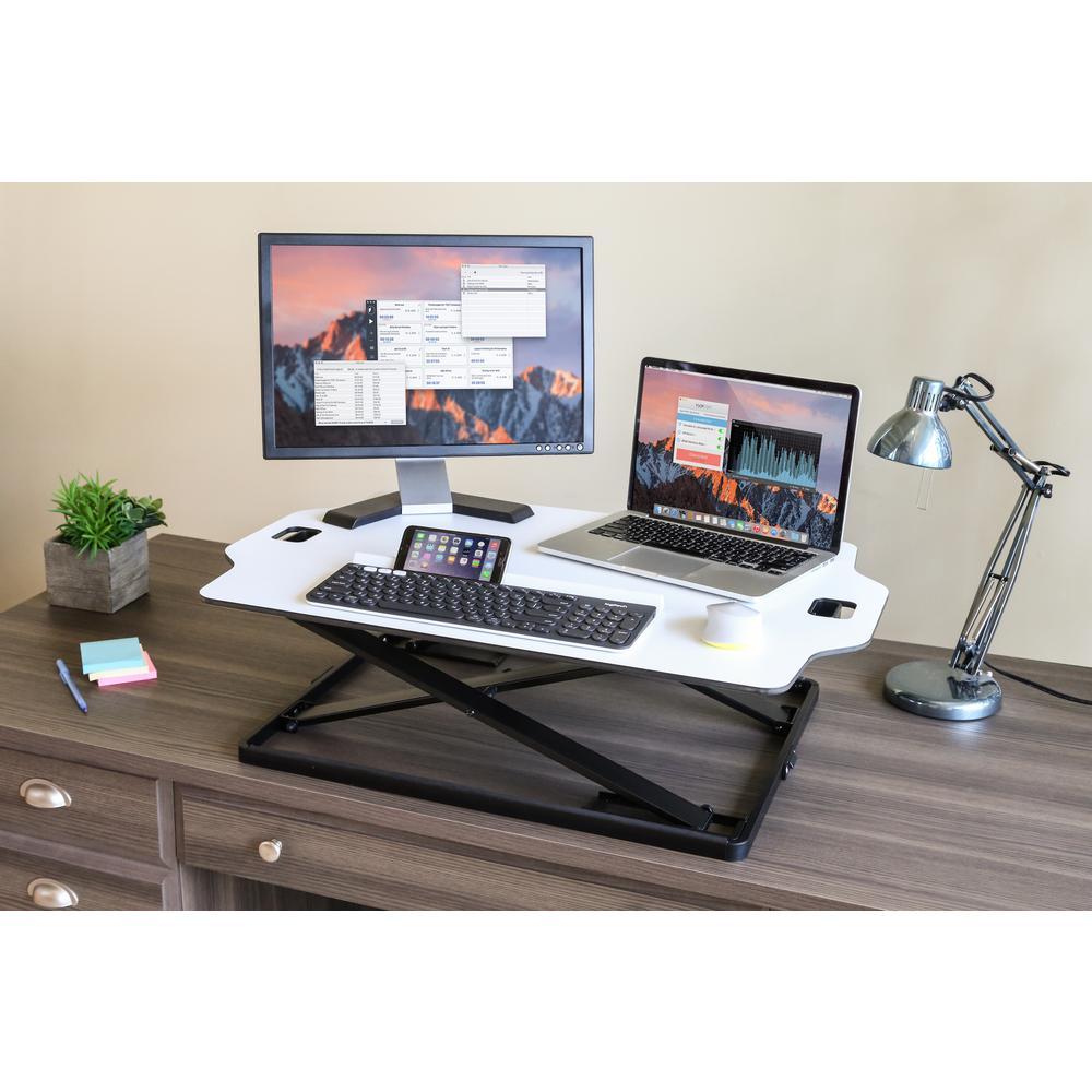 AIRLIFT White Slim Adjustable Height Standing Laptop Desk Converter Riser