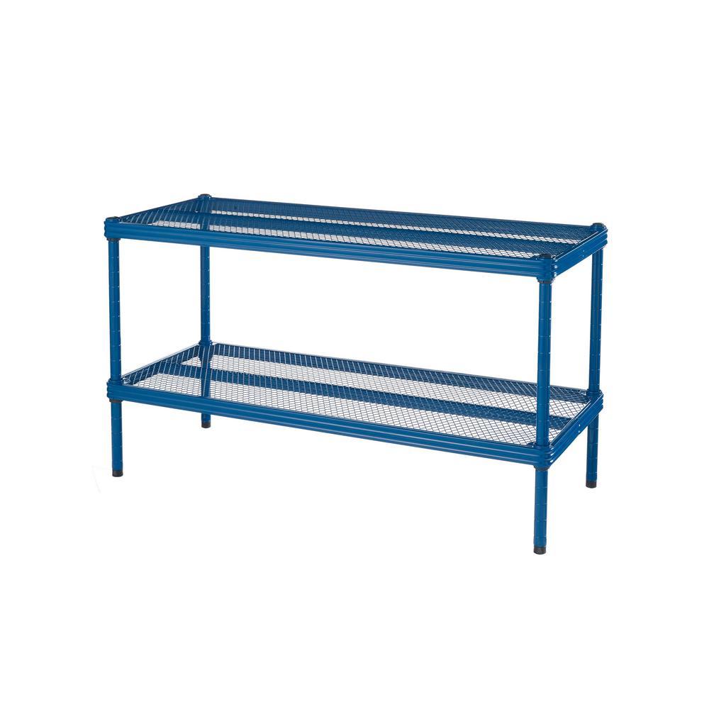 MeshWorks 30.75 in. x 11.8 in. x 15.75 in. 2-Tier Petrol Blue Shoe Shelf
