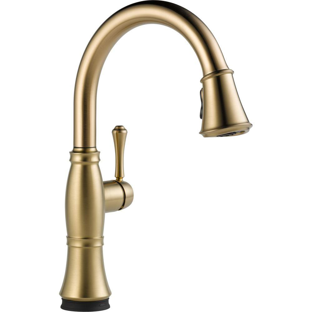 Delta Cassidy Touch Single-Handle Pull-Down Sprayer Kitchen Faucet in Champagne Bronze