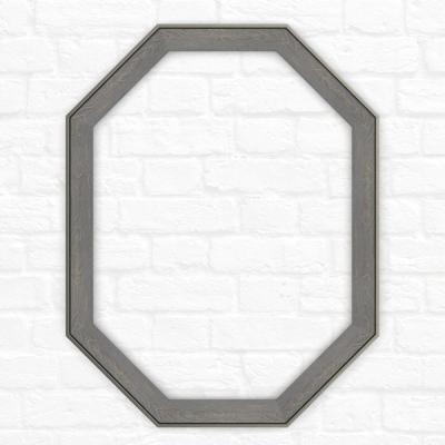 26 in. x 34 in. (M2) Octagonal Mirror Frame in Weathered Wood