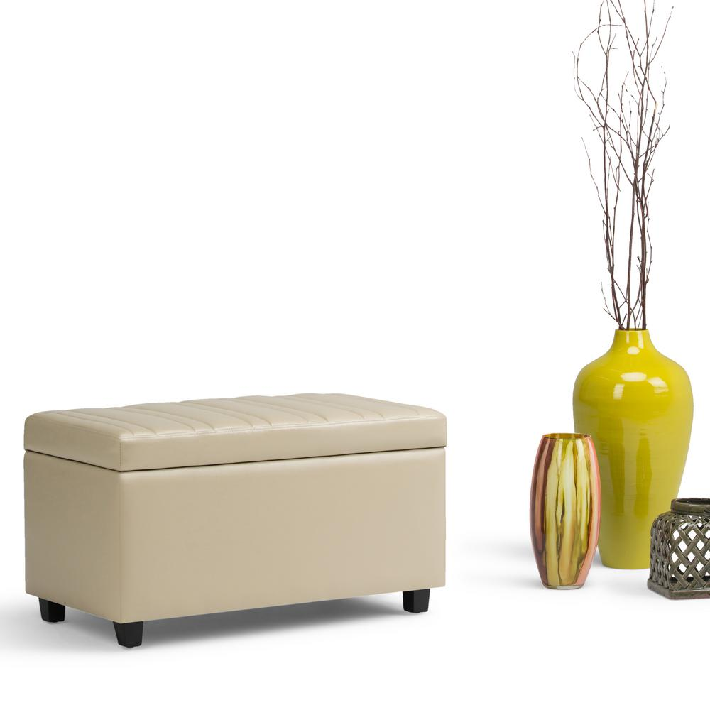 Elegant Simpli Home Darcy Satin Cream PU Faux Leather Storage Ottoman