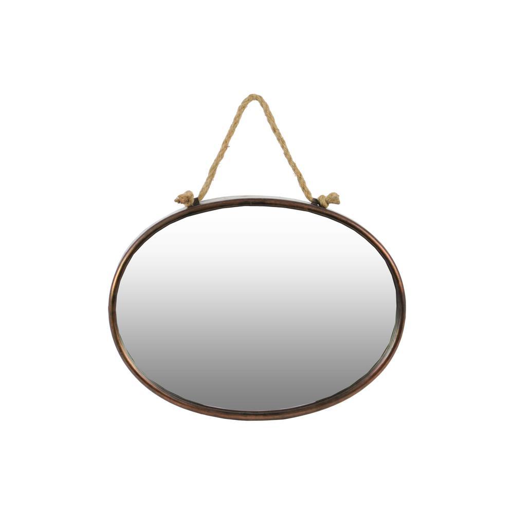 Oval Bronze Tarnished Wall Mirror