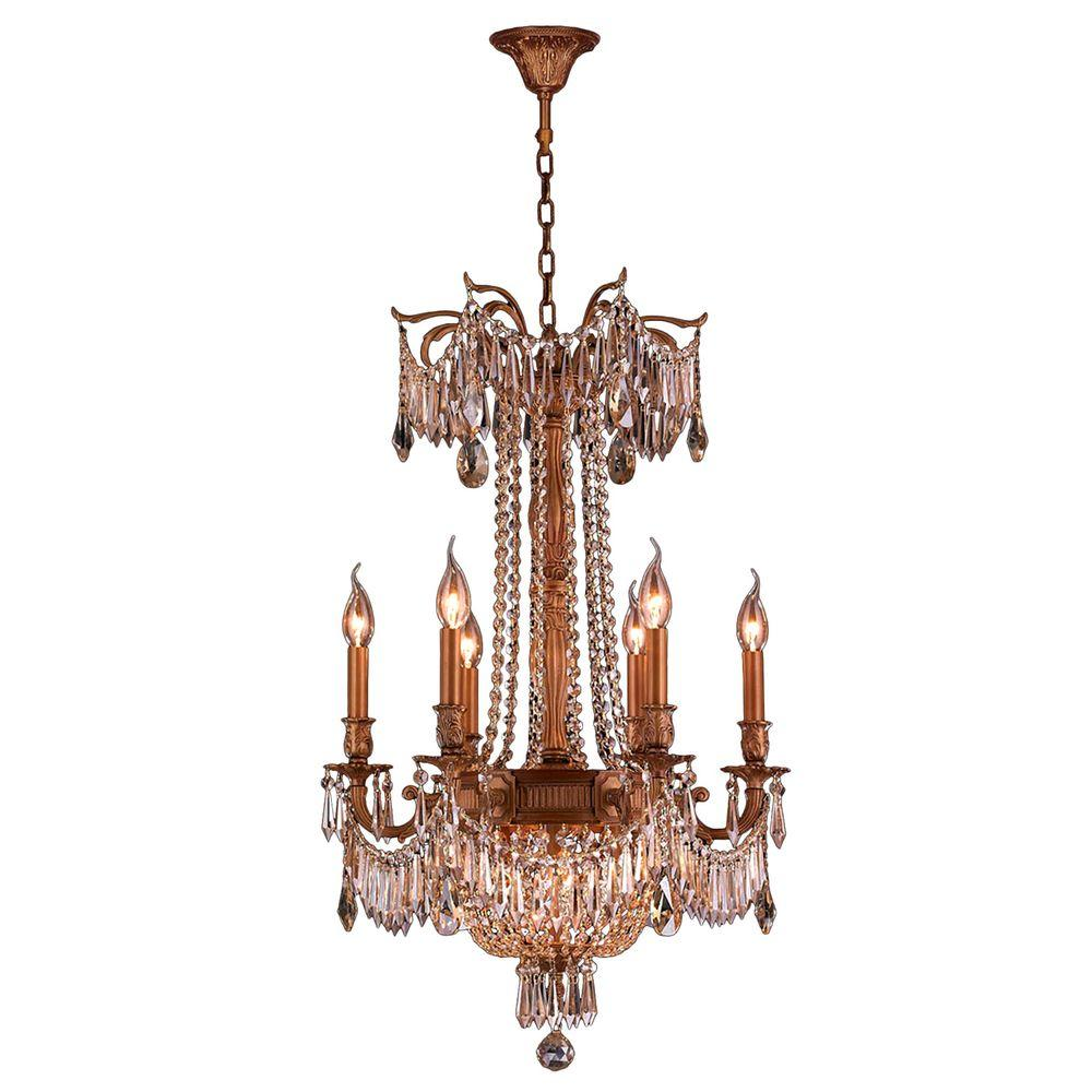 Worldwide Lighting Winchester Collection 9-Light French Gold and Golden Teak Crystal Chandelier