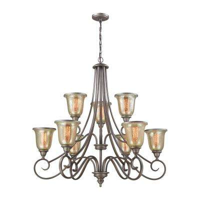 Georgetown 9-Light Weathered Zinc Chandelier With Mercury Glass Shades