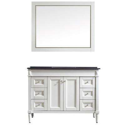 Catania 48 in. W x 22 in. D x 35 in. H Vanity in White with Granite Vanity Top in Black with Basin and Mirror