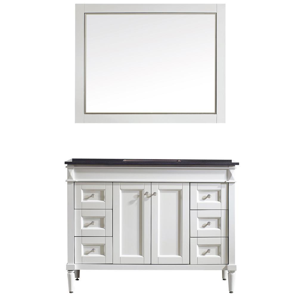 Vinnova Vanity White Granite Vanity Top Black Basin Mirror