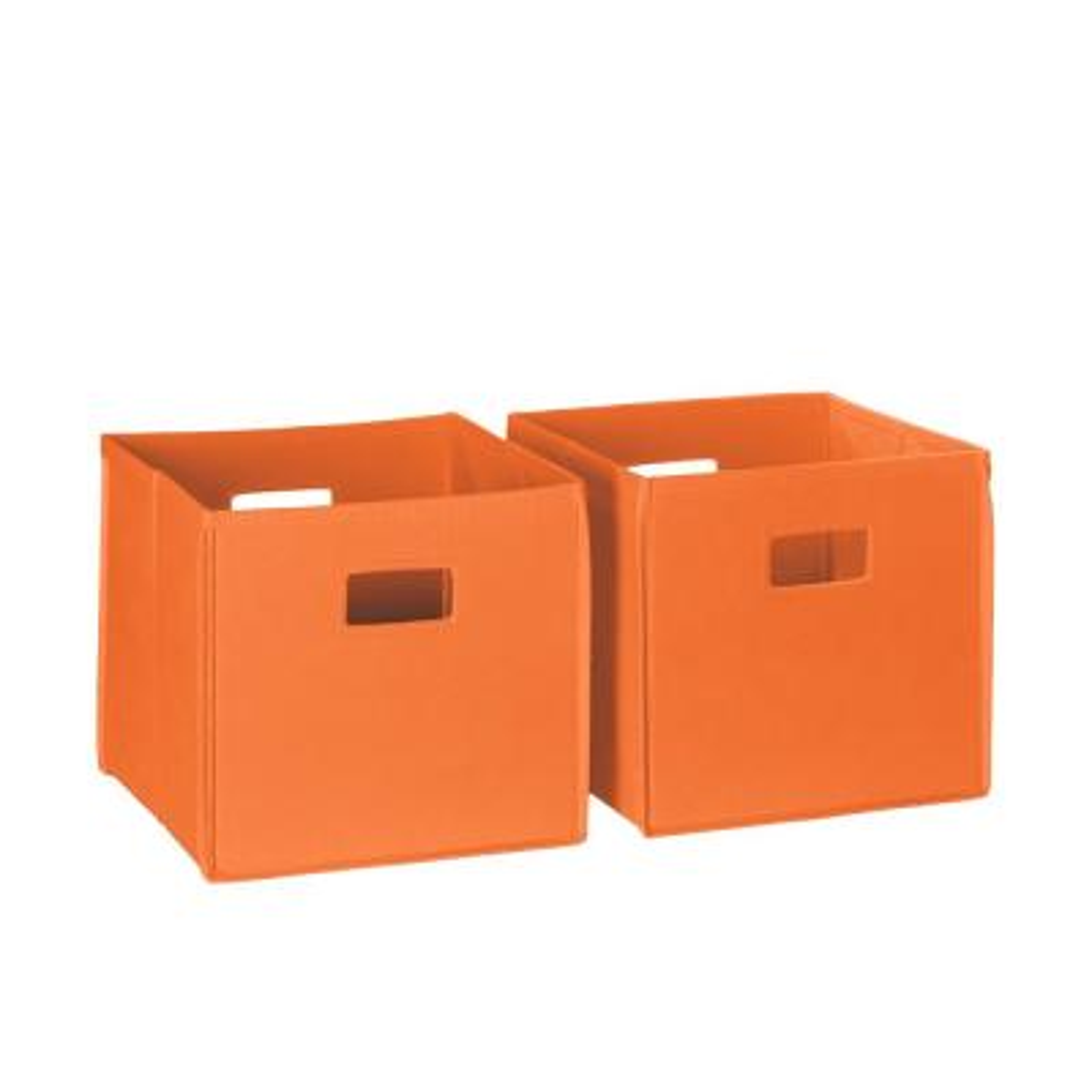 10.5 in. x 10 in. Folding Storage Bin Set Organizer in Orange (2-Piece)