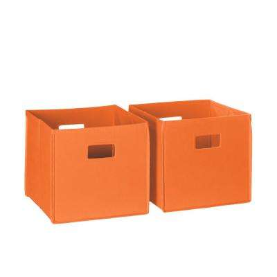 10.5 in. x 10 in. Folding Storage Bin Set Organizer in Orange (2-Piece)