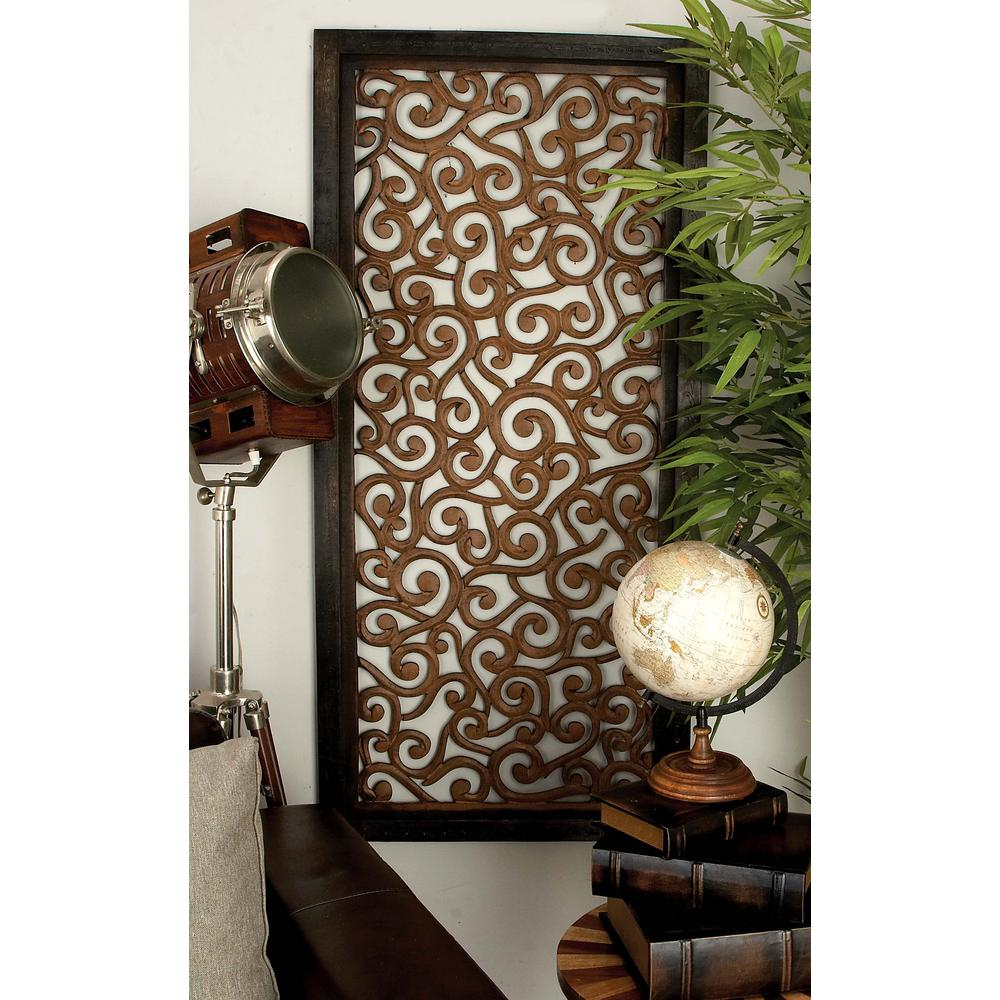 51 In X 24 In Rustic Traditional Wooden Scrollwork Wall Panel