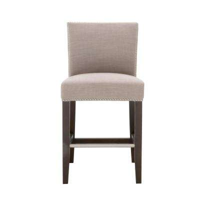 Soho 26 in. Almond Fabric, Espresso Counter Stool