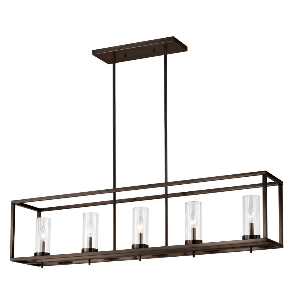 Sea Gull Lighting Zire 5-Light Brushed Oil Rubbed Bronze Island Pendant with Clear Glass Shades