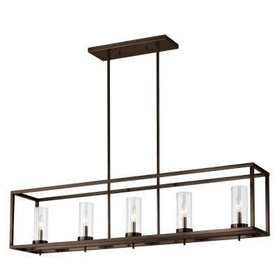 Zire 5-Light Brushed Oil Rubbed Bronze Island Pendant with Clear Glass Shades