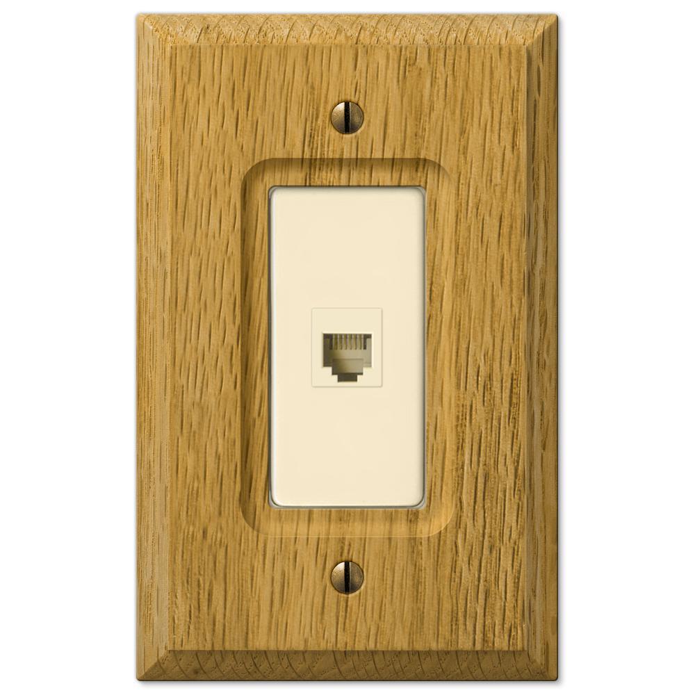 Carson 1 Gang Phone Wood Wall Plate - Light Oak