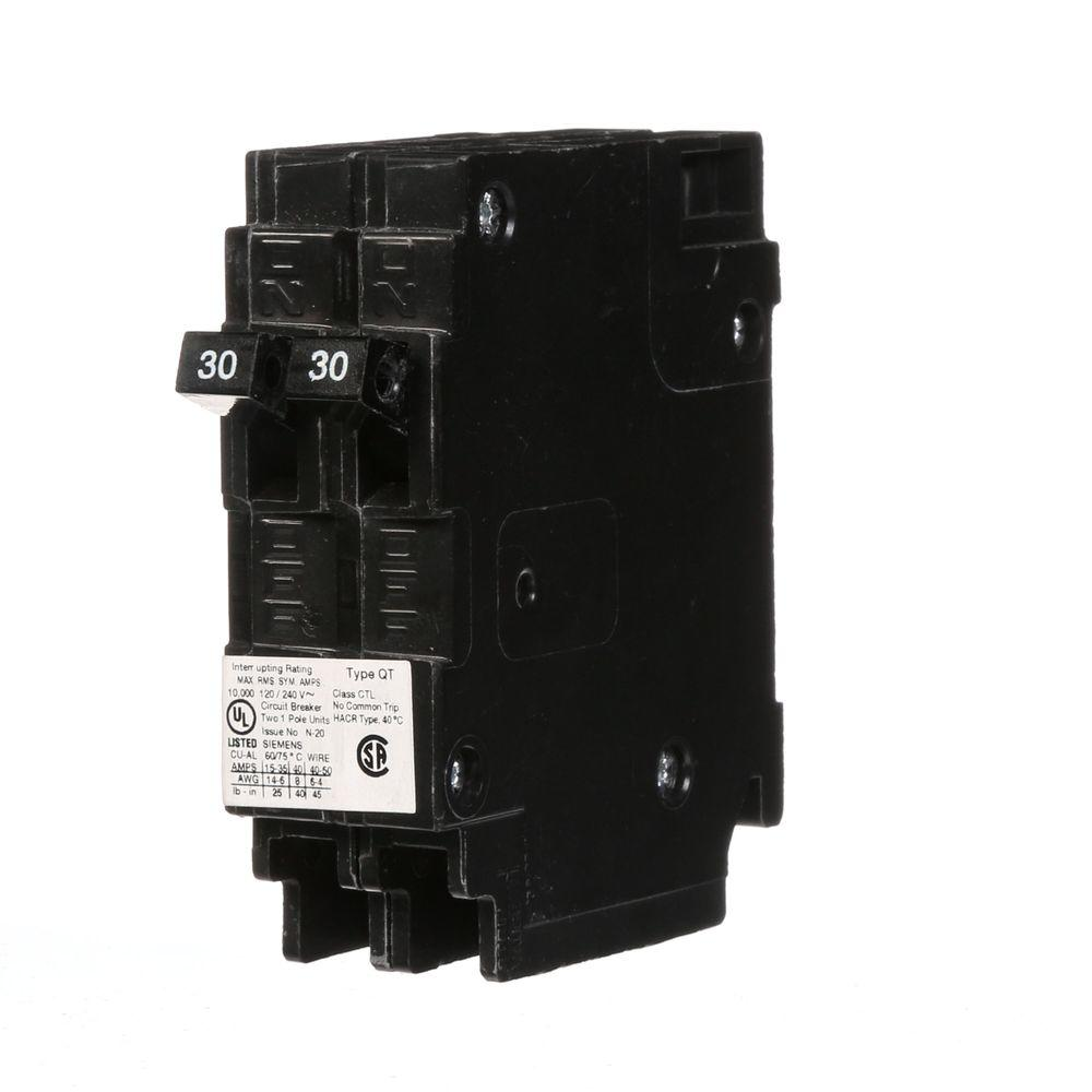 Siemens 2-30 Amp Single-Pole Type QT Tandem-Circuit Breaker