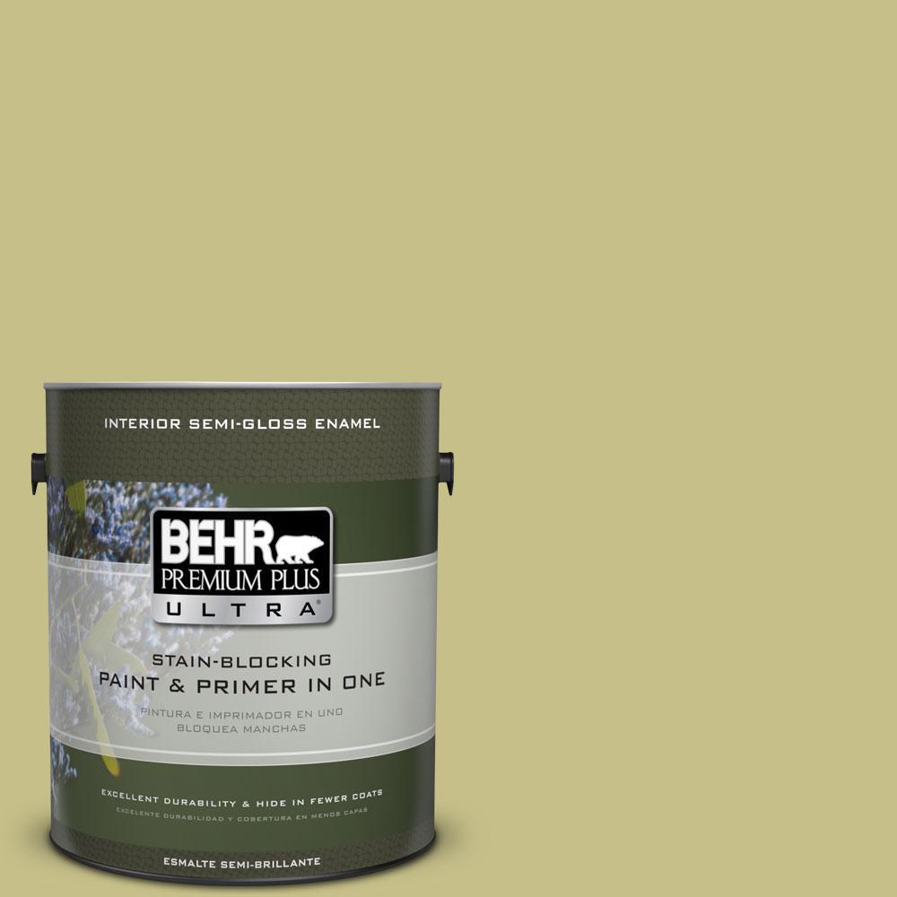 BEHR Premium Plus Ultra 1-gal. #PPU9-11 Wheat Grass Semi-Gloss Enamel Interior Paint