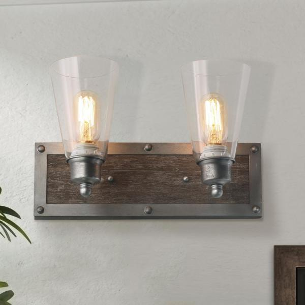 Vanity 2-Light Antique Silver Modern Farmhouse Transitional Wood and Clear Glass Wall Sconce LED Compatible