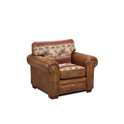 Deer Valley Brown Tapestry Upholstered Chair in Faux Leather Fabric