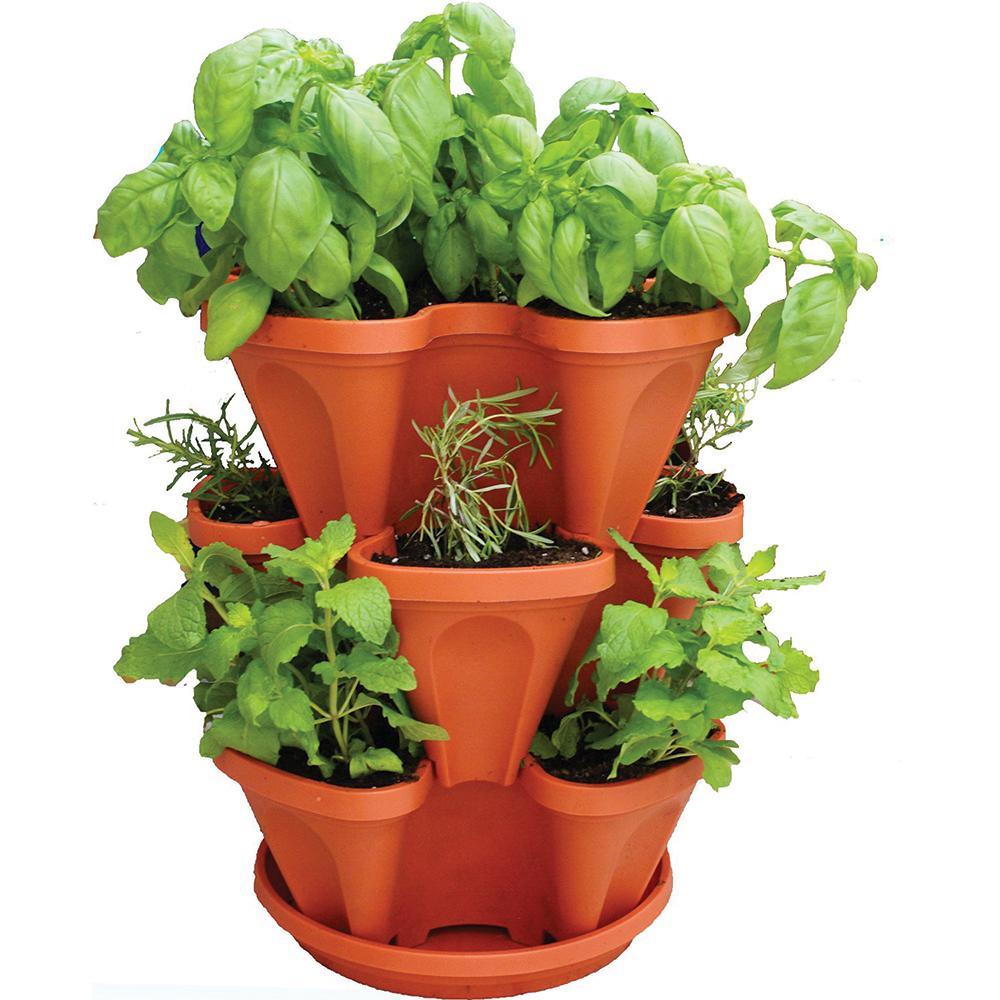 12 in. x 5.5 in. Terracotta Plastic Vertical Stackable Planter (3-Pack)