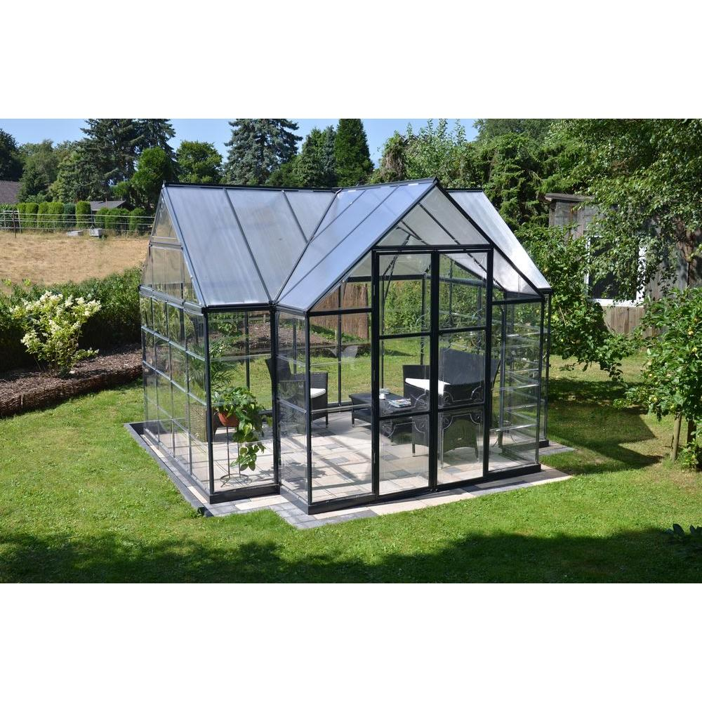 Palram victory orangery 10 ft x 12 ft garden chalet for Home garden greenhouse design