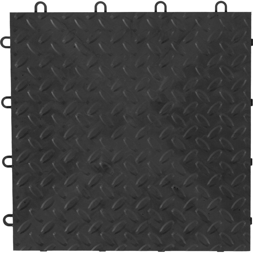 Gladiator 12 in x 12 in charcoal polypropylene garage flooring charcoal polypropylene garage flooring tile 48 doublecrazyfo Image collections