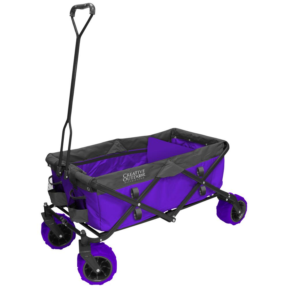 7 cu. ft. Folding Garden Wagon Carts in Purple
