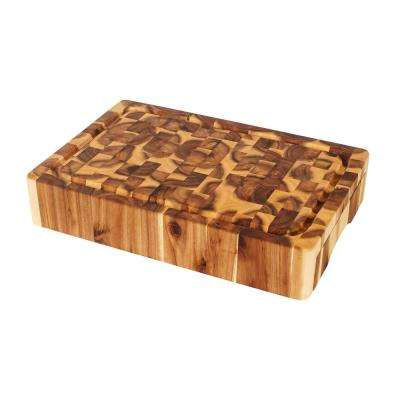 Chris and Chris 11.74 in. x 17.75 in. x 3.25 in. thick Acacia cutting board with convenient knife drawer