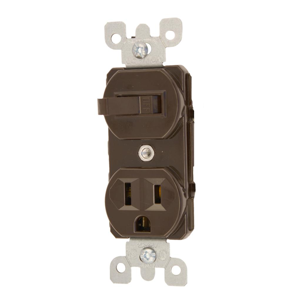 Leviton 15 Amp Commercial Grade Combination Single Pole Toggle Switch and  Receptacle, Brown. +2