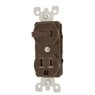 15 Amp Commercial Grade Combination Single Pole Toggle Switch and Receptacle, Brown
