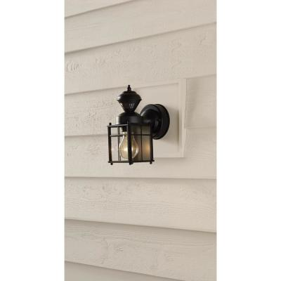 Bayside Mission 150° Black Motion-Sensing Outdoor Wall Lantern Sconce