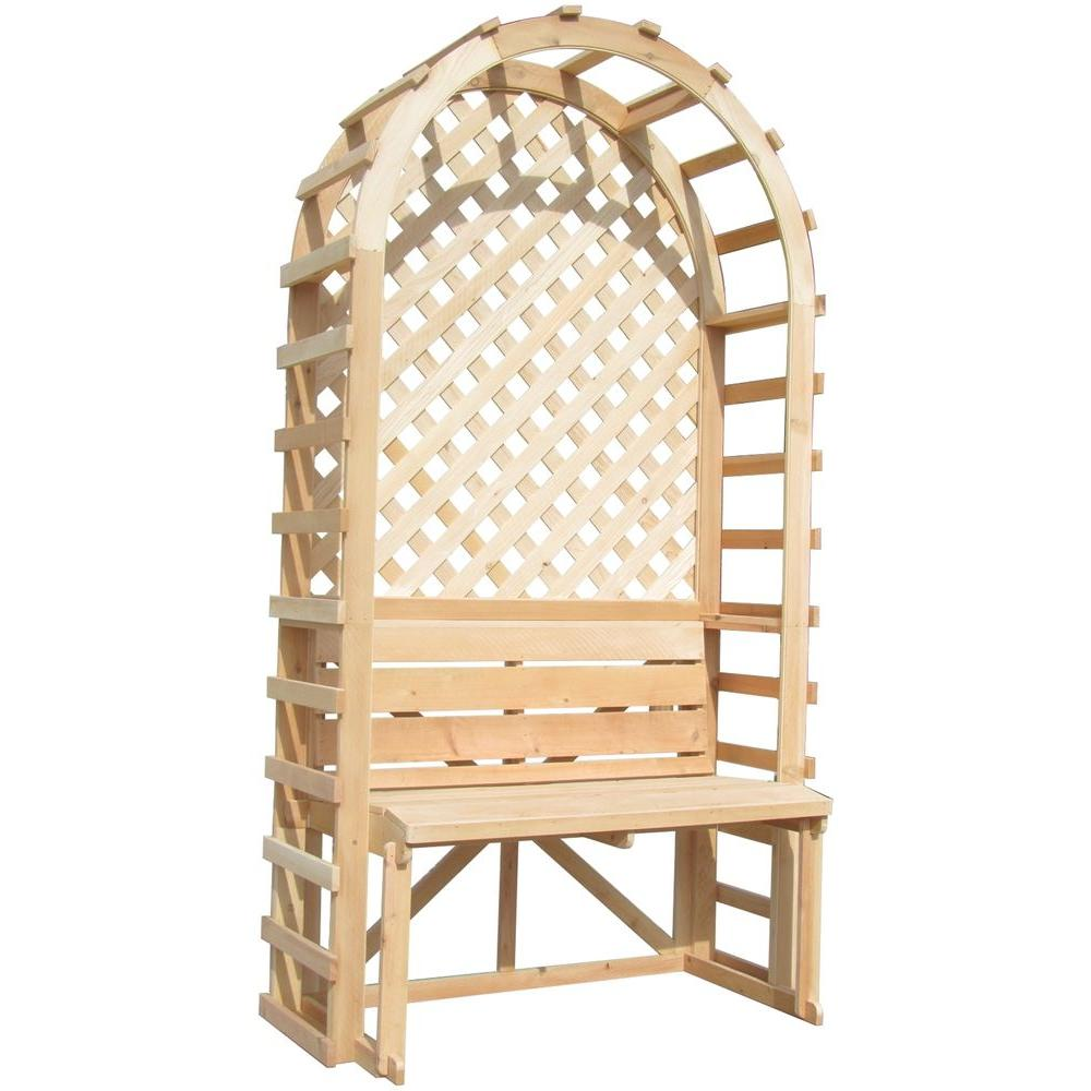 80 in. x 42 in. Bench and Trellis Backdrop Pine Rose