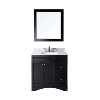 Elise 36 in. W Bath Vanity in Espresso with Marble Vanity Top in White with Square Basin and Mirror
