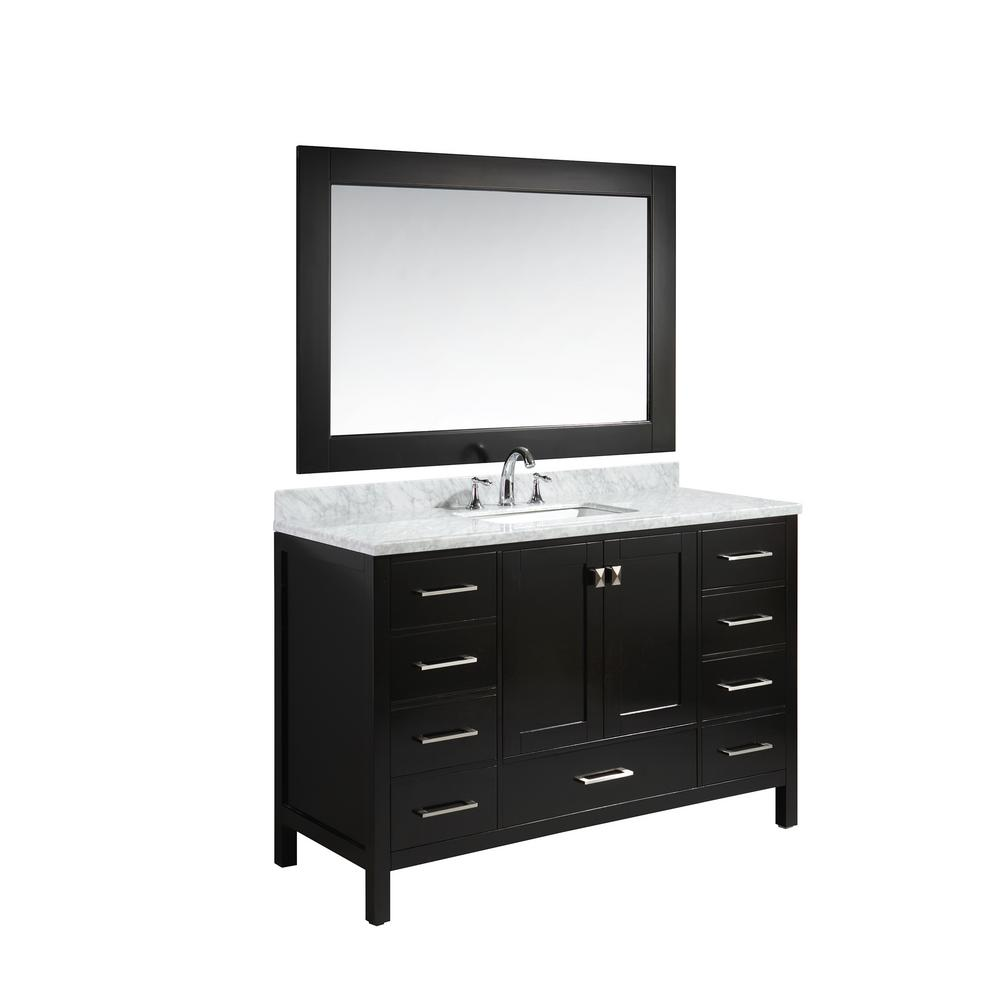 Design Element London 54 In. W X 22 In. D Vanity In Espresso With Marble  Vanity Top In Carrera White With White Basin And Mirror DEC082D E   The  Home Depot