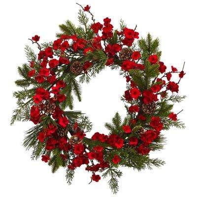 24 in. Plum Blossom Pine Wreath