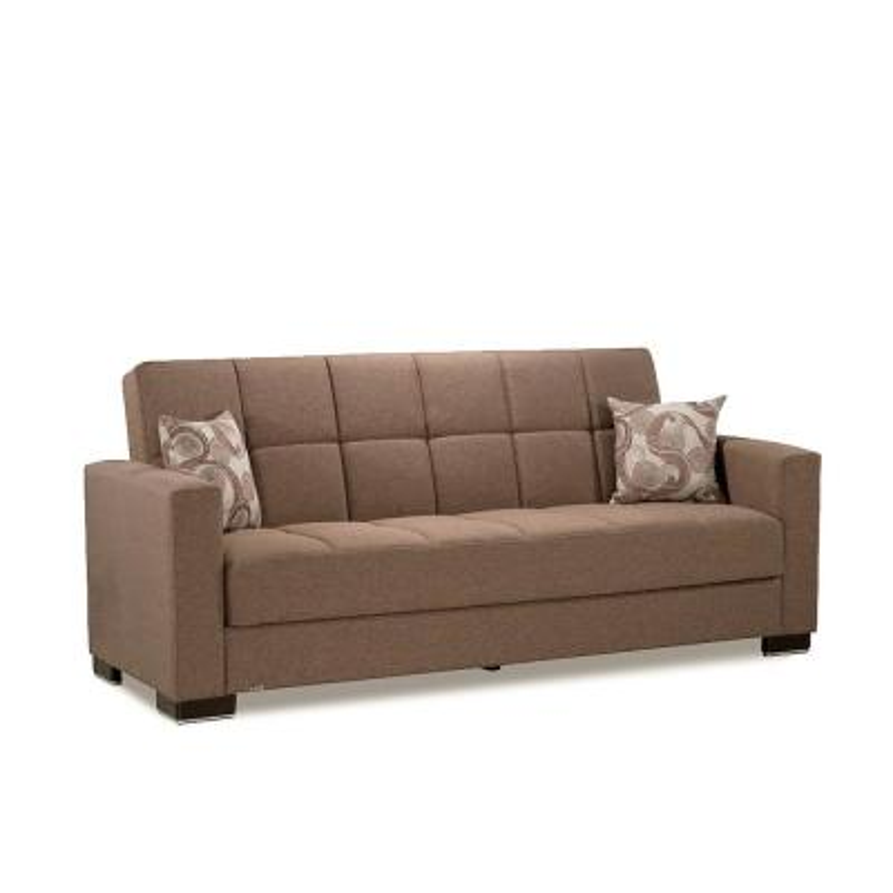 Armada Dark Beige Fabric Upholstery Sofa Sleeper Bed with Storage